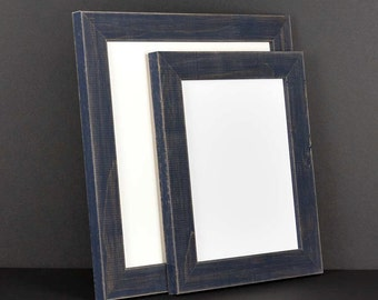 Navy Blue Picture Frame - Rustic Reclaimed Distressed Barn Wood Style Grey - All Wood - Choose your size - Custom Sizes Available