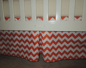 Orange Chevron Crib Skirt with Pleat