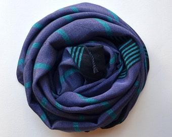 SILK BAMBOO PESHTEMAL- turkish towel/handmade towel/body towel/yoga towel / peshtemal /purple turquoise  stripes/ pool beach shawl,scarf- 17