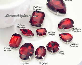 Siam Glass Rhinestones beads --15pcs Red Sapphire Teardrop Oval Octagon Marquise Sew on loose Rhinestones silver settings Vintage Crystal