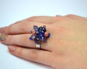 Multicolor Czech Beads Ring Adjustable Ring One Size Fits All Ring Beaded Ring