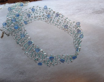 Knitted choker necklace with pale blue heart beads wedding bride or bridesmaid gift