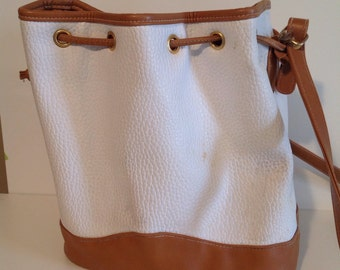 Faux leather drawstring purse