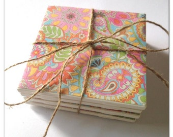Bright Paisley and Flower scrapbook/tile coasters