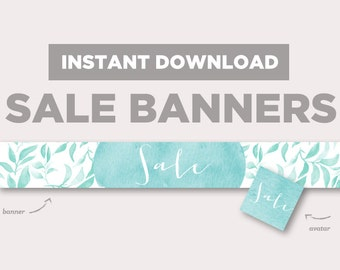 Shop Sale Banner | INSTANT DOWNLOAD | Avatar + Store Banner | Sweetness | Blue Leaves | Rustic Banner