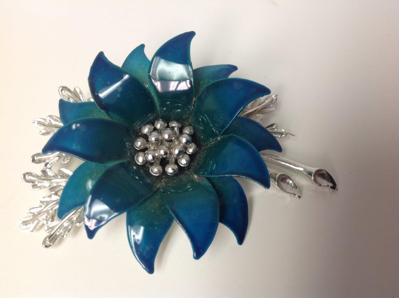 Vintage Coro Signed Flower Enamel Brooch Pin