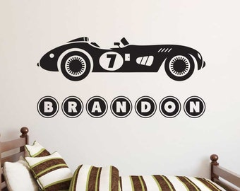 Vintage Race Car with Custom Name - One Color - Vinyl Wall Decal - Bedroom Decor
