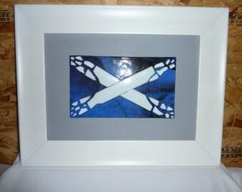 Fused glass Saltire, the scottish nation flag
