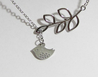 Lariat bird and branch necklace, organic necklace, bird necklace, bird pendant, silver bird necklace