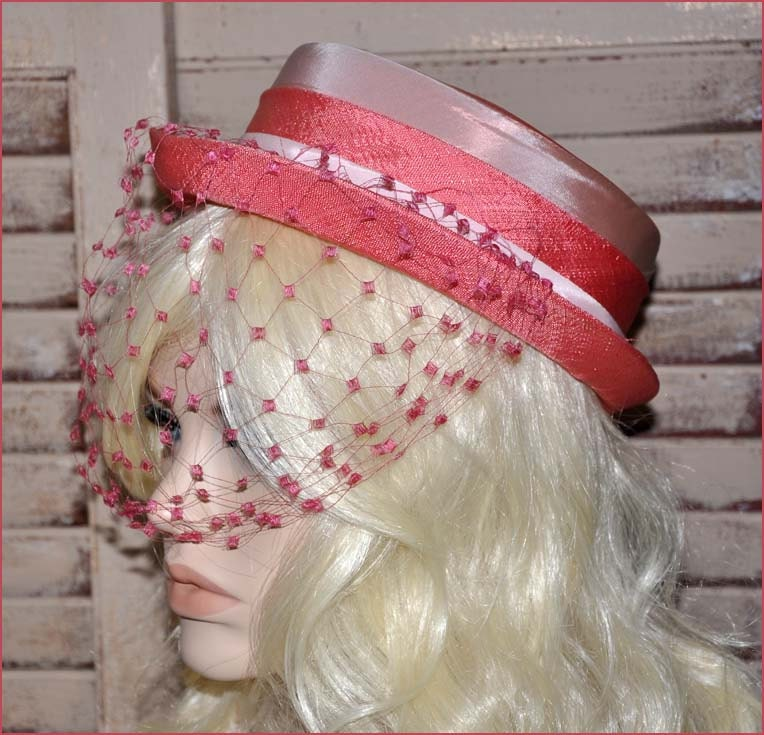 Coral Linen Hat Pale Pink Hat Coral Veil Hat By TRACEOFVINTAGE