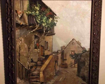 1946 Vintage French Italian architectural  village oil The Red Geranium