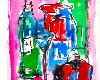 kitchen wall art decor poster art print, still life vino art print wall art painting