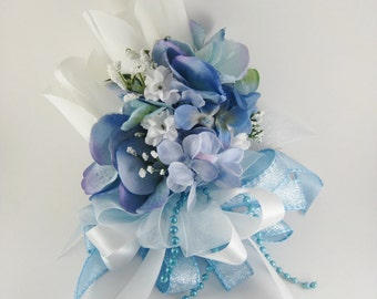 Blue Wedding Prom Rose Hydrangea Silk Flower Pin On  or Wrist Corsage