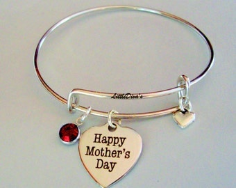 MOTHER'S DAY Adjustable  Bangle W/ Birthstone Crystal Drop w/ A Silver Tone Heart  / Gift For Her- Under 20 Usa F1