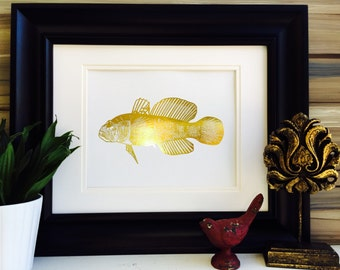 Fish Print, Sport Fishing Gift, GoldFoil Print, Office Wall Art, Nautical Wall Art, Beach Decor, Lake House Decor, Fish Artwork