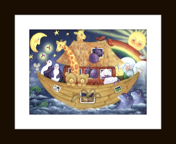 Items similar to noahs ark nursery decor acrylic art print for Noah s ark decorations
