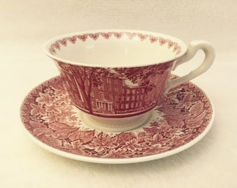Wedgwood Floral Tea Coffee Cups & Saucer - Earlham Collage Second Edition