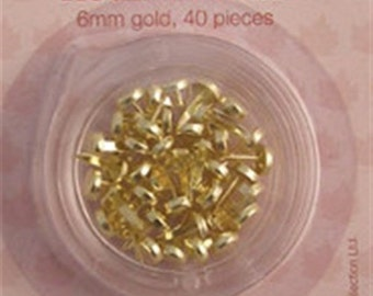 Round gold coloured brads -Pack of 40