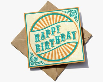 FREE delivery – Vintage carnival-style birthday card with brown kraft envelope
