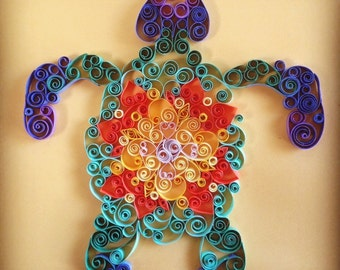 Handmade Quilled Paper Multicolored Turtle Art