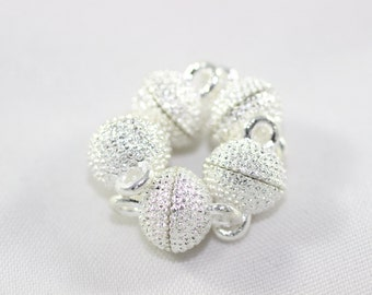 4 Sets Silver Tone Magnetic Clasps, 9x14 mm Mini Ball Clasps, Round Strong Magnets, Dotted Clasps