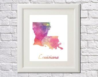 Louisiana State Map Louisiana Print Louisiana Art Louisiana State Outline Louisiana Home Decor Wall Art