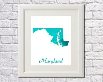 Maryland State Map Maryland Print Maryland Art Maryland State Outline Maryland Home Decor Wall Art