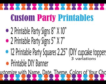 Custom Made to Order Party Printables