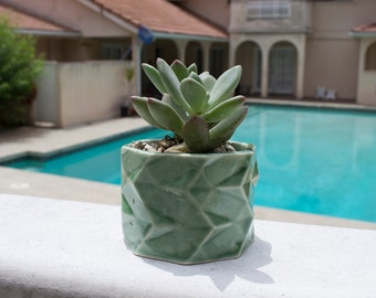 Green Geometric Planter