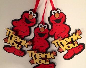 10 Sesame Street Elmo die cut birthday favor tags