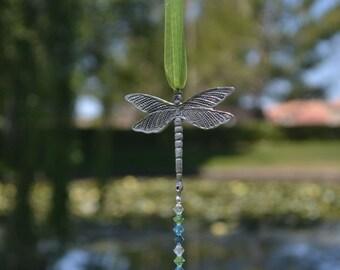 Swarovski Crystal Suncatcher, Suncatcher for Car, Rainbow Maker, Swarovski Crystal Ornament, Car Rearview Mirror Charm - DRAGONFLY -