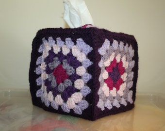 Purple Crocheted Tissue Box Cover
