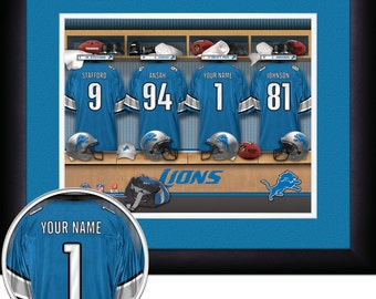 Locker Room Print -NFL- Detroit Lions -Personalized!! MATTED and FRAMED