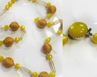 Retro Canary Yellow Necklace 1950's