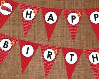 Firefighter Banner - Firefighter Party Banner - Party Banner - Edit, Print and Assemble yourself at home!