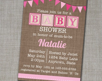Baby Shower Invitation - Baby Shower Invite - Girl Baby Shower Invite - Alphabet Blocks Invite - Pink Baby Shower - Edit yourself at home!