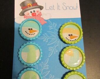 Snowman Bottle Cap Magnets