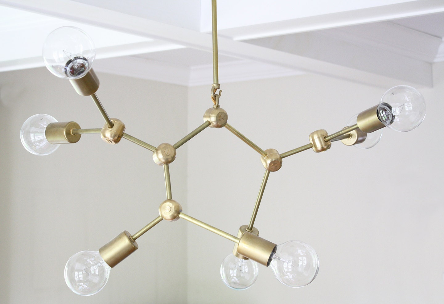 molecule brass mid century modern chandelier. Black Bedroom Furniture Sets. Home Design Ideas