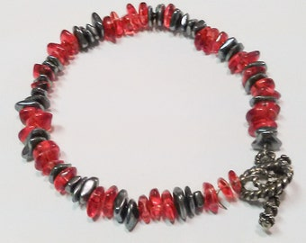 Red & Gray-Black Beaded Bracelet