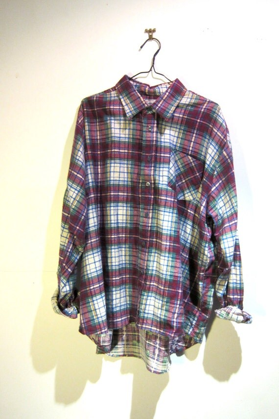 Vintage Plum Purple Grunge Plaid Shirt Button Down