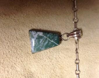 Jasper pendant on sterling silver chain