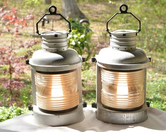 Set of 2 Antique Staten Island FERRY LANTERNS ~