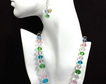 New Jewelry Necklace Czechoslovak Crystal Glass Beads Earrings Set