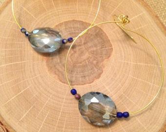 Light blue crystal beaded earrings