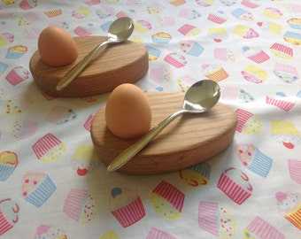 Pair of Handmade wooden egg cups