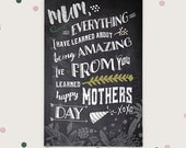 Printable mothers day card,  chalk white grey typography, sayings and quotes, cheeky, diy, digital foldable card.