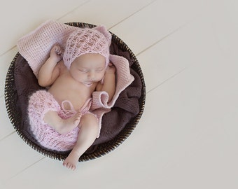 Newborn photo prop-knitted outfit, pants and bonnet