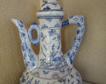Vintage Portuguese Pottery IDEAL CONIMBRIGA Portugal White Blue Bird Pitcher Jug