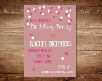 Pink Birthday Invitations - Pink Birthday Invitation Template - Pink Birthday Party Invitation