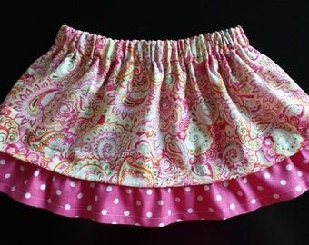 Paisley Polka Dot Ruffled Skirt